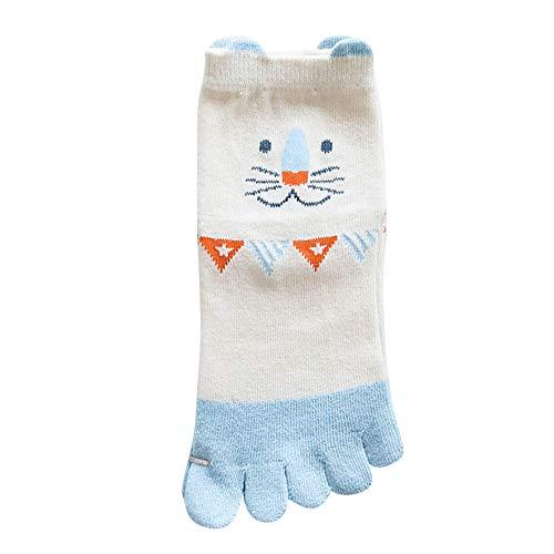 Fenverk Zehe Socken Baumwolle Tief Geschnitten Frau MäDchen Pilates FüNf Finger Reich Liner KnöChel Socke Bunt Lustig(B-Sky Blue,S)