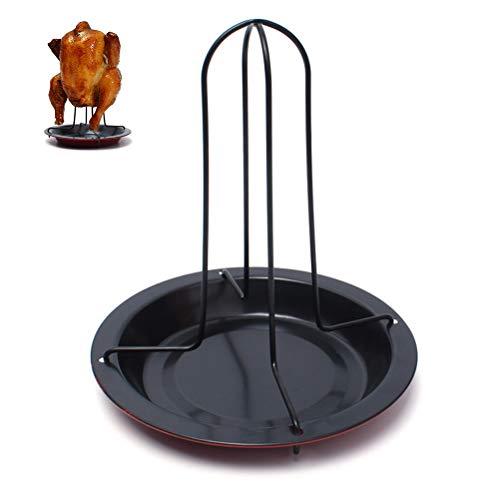 Fyeep Hähnchengriller für den Backofen, Vertikaler Röster-Huhn-Halter mit Drip Pan für Ofen oder Grill, Grill-Zusätze Edelstahl