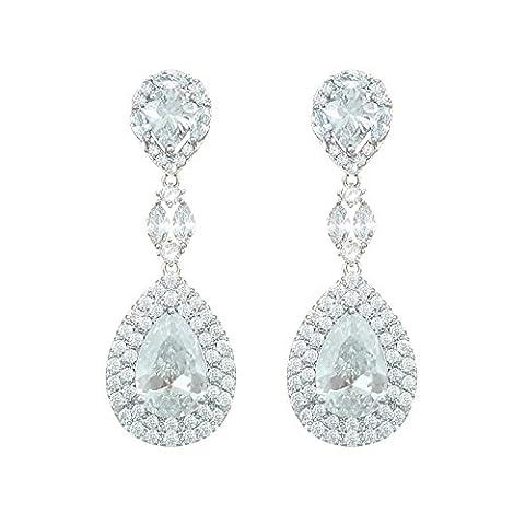 QUKE Silver-Tone Clear Austrian Cubic Zirconia Crystal Bridal Wedding Pierced Dangle Earrings
