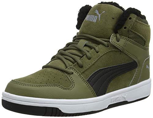 Puma Unisex-Kinder Rebound Layup Fur SD Jr Sneaker, Burnt Olive Black-Limestone White, 39 EU