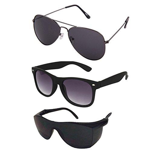 Silver Kartz Classic 3-Combo Aviator Aviator, Wayfarer, Sport Unisex Sunglasses(Av032|40|Black)