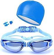 Swimming Goggle Kit Swim cap Nose Clips Ear Plugs Swim Gear Set Anti-Fog No Leaking UV Protection Swimming Gog