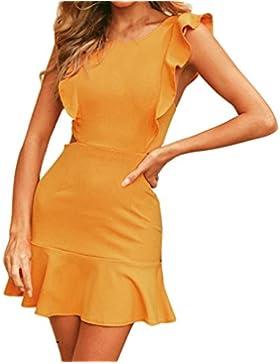 Abito Donna Eleganti, Sysnant Moda Sexy Mini Vestiti Donna Senza Maniche di Ruffles Abito Eleganti vestito da...