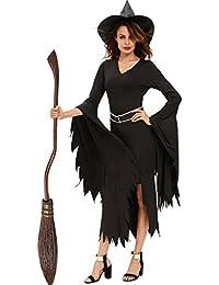 Fortuning's JDS Todo el traje negro de Halloween de la bruja de la bruja