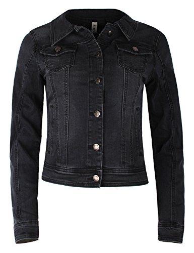 Fraternel Damen Jacke Jeansjacke Denim Jacket talliert Stretch Schwarz L / 40 (Jean Damen Billig Jacke)