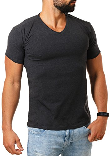e7df90208204de Young   Rich Herren V-Ausschnitt T-Shirt einfarbig slimfit mit  Stretchanteilen Uni Basic V-Neck Tee