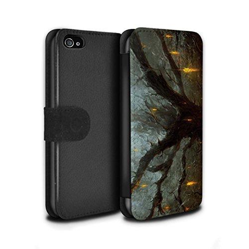 Offiziell Chris Cold PU-Leder Hülle/Case/Tasche/Cover für Apple iPhone 4/4S / Baum des Wissens Muster / Gefallene Erde Kollektion Baum des Wissens