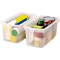 Kurtzy 4 piezas Organizador de almacenamiento para frigorífico con mango - Organizador de alimentos - Contenedor