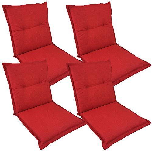 SunDeluxe Mittellehner Auflage Comfort für Gartenstühle 97x50 cm Rot 4er Set - Outdoor Stuhlauflage wasserabweisend und schmutzabweisend - Sitzauflage mit Öko-Tex100, Qualität Made in EU