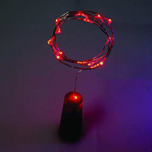 Glareshop 100cm Kork geformt 10LED Nacht Fee Seil Licht Weinflasche Lampe Party Decor Red
