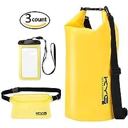 Premium Bolsa Estanca 20L Impermeable Seca PVC- Set de Bolsa Waterproof con Funda Táctil de Móvil y Bolsa Cintura para Playa y Deportes al Aire Rafting/Kayak/Senderismo/Esquí/Pesca/Escalada/Camping