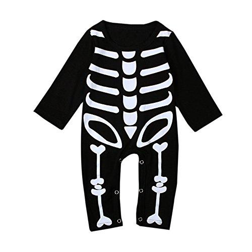 Bebone Mameluco Pelele Bebé Niños Niñas Esqueleto Pijama de Rompers Manga Larga (Negro,18-24M)
