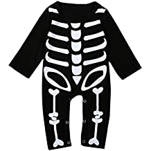 Bebone Mameluco Pelele Bebé Niños Niñas Esqueleto Pijama de Rompers Manga Larga