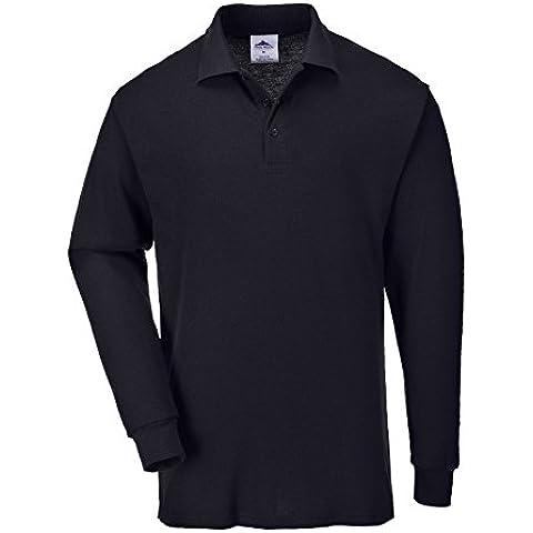 Portwest B212 - Camisa con mangas larga Polo, color Negro, talla Medium