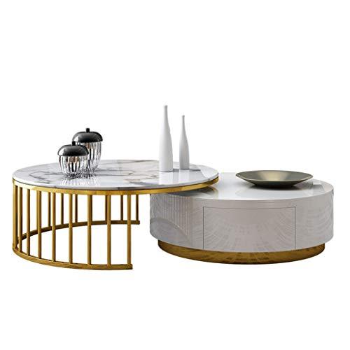 Runder Couchtisch-Set, Marmor- und Holz-Tischplatte, Metallrahmen aus Schmiedeeisen, unsichtbare große Schublade, schlanker Minimalist, geeignet für moderne Wohnzimmerdekoration für Zuhause, weiß - Marmor Tischplatte