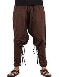 Whitewhale Men's Cotton Solid Harem Pants Yoga Trousers Hippie