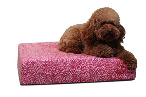 Brentwood Gel Memory Foam Orthopedic 34 by 24-Inch Dog Bed, Medium, Pink Cheetah by Silver Rest Mattress - Pets (English manual)