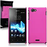 Sony Xperia J Hybrid Rubberised Back Cover / Case / Shell / Shield - Solid Hot Pink