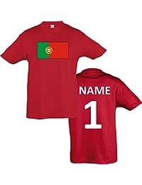 Kids T-Shirt Portugal Ländershirt mit Wunschnamen und Nummer