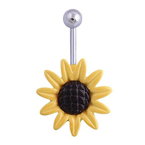 Contever® 1.6*11MM Flor de Margarita Piercing para Ombligo Vientre 316 Acero Inoxidable Joyas para el Cuerpo
