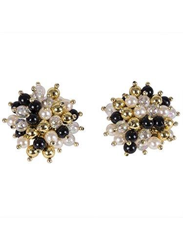 Shenky - Boucles d'oreilles à clips - perles - 40 mm Forme Bouquet
