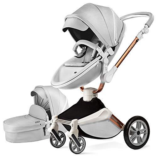Kombikinderwagen 3 in 1 Funktion mit Buggy und Babywanne 2020 neues Design 360 Drehung Kinderwagen, Hohe Landschaft PU-Leder Reversibele Aufsätze Federung in PU-Räder, Babyschale extra Kaufbar-Grau