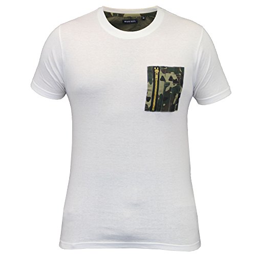 Herren Kurzärmelig T-shirts Brave Soul Tarnung Militär Armee Reißverschluß Freizeit Neu weiß - 149TAYLOR