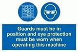 Viking Schilder mp301-a4l-v Wachen muss in Position und Augenschutz zu tragen, wenn diese Maschine Zeichen, Vinyl, 200mm H x 300mm W