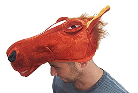 Horse Head Novelty Unisex Plush Fancy Dress Costume Gimmick Animal Hat