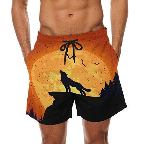 BHWYK Men's Halloween Wolf Beach Board Shorts Quick Dry Swim Trunkfor Summer Vacations M-XXL Code(M) (Halloween-dress-code Für Männer)
