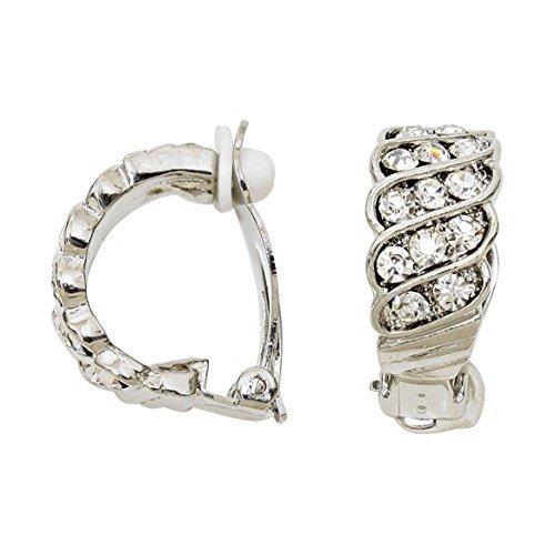 Rosemarie Collections da donna crystal Accented clip su orecchini a cerchio