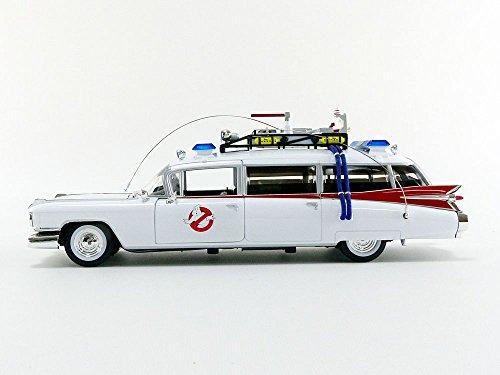 Auto World-Modelo de Coche Cadillac Ghostbusters Ecto 1(Escala 1/21, awss118, Color Blanco