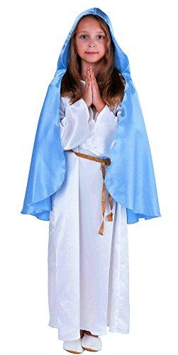 Deluxe Maria Kostüm Krippenspiel für Kinder weiß-blau - Maria Kostüm für Kinder Mädchen (128)