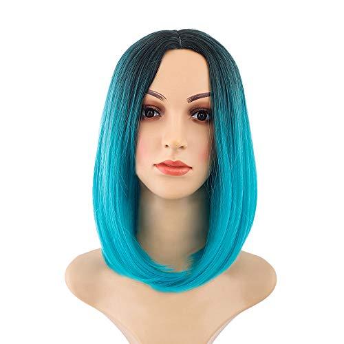 Rifuli® 90er jahre perückenKostüm Perücken Kurze, flauschige Cosplay Perücke mit Pony Kostüme für Frauen Kurze Haarperücke Styling Perücken ()
