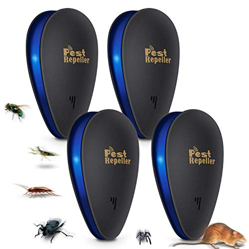 4PCS Repelente Ultrasónico de Plagas, Seguro y ecológico para niños y mascotas ,Repelente de Mosquitos Electrónico, Control Interiores para Insectos, Mosquitos tropic(Negro)