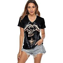 MMDYF Disfraces Halloween Mujer Camiseta De Manga Corta De Halloween para Damas, Estilo De Personalidad De Impresión Digital 3D