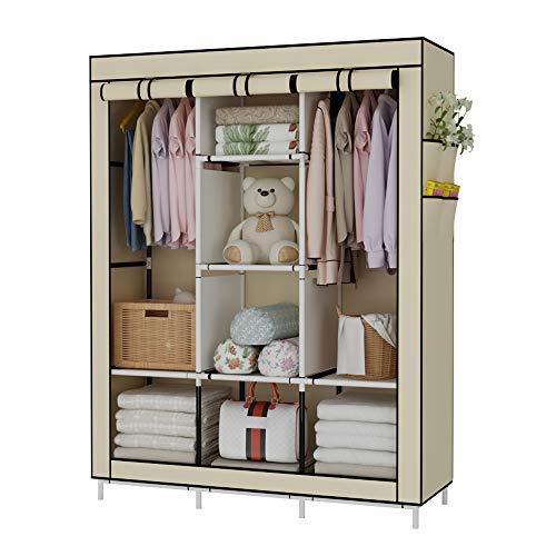 Udear armadio piccolo cabina guardaroba appendiabiti richiudibile in tessuto non tessuto beige