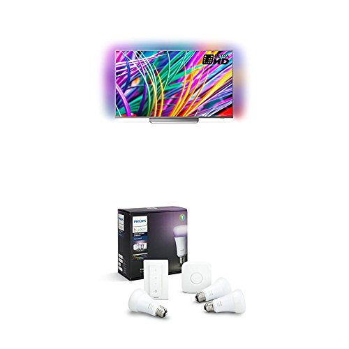 Philips 49PUS8303/12 49-Inch 4K Ultra HD Android Smart TV with 3-sided Ambilight and Philips Hue White and Colour Ambience Smart E27 Bulb Starter Kit