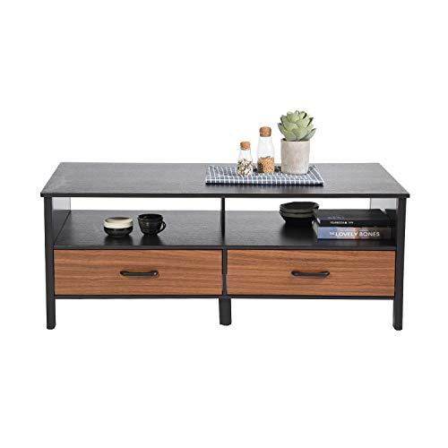 FURNITURE-R France Couchtisch mit Schubladen zur Aufbewahrung von Wohnzimmer Cocktail Tisch Sofa rechteckig - Braun -