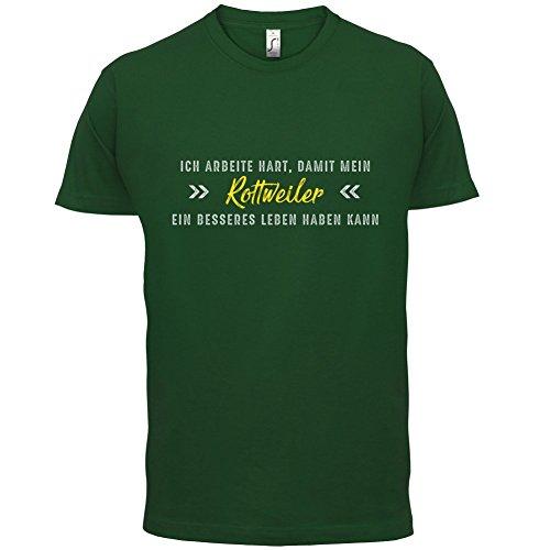 Ich arbeite hart, damit mein Rottweiler ein besseres Leben haben kann - Herren T-Shirt - 12 Farben Flaschengrün
