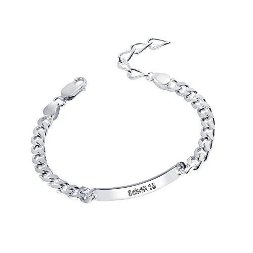 MATERIA 925 Silber Armband mit Gravur diamantiert - 6mm Panzerkette Herren  Damen 19-23cm verstellbar 525feaedc8