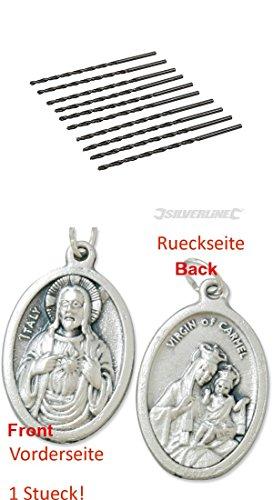 HSS-Bohrer, metrisch, extra lang, 10er Pack, 3,0x100 mm, Spiralbohrer, Metallbohrer, Bohrer (929977675042) mit Anhänger Herz Jesu 2,5cm