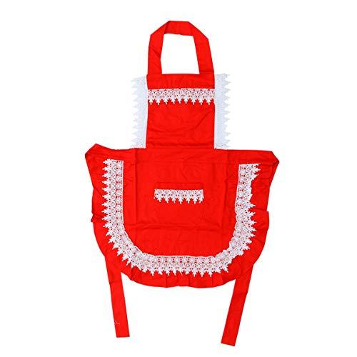 Tipps Kellnerin Kostüm - UPKOCH Dienstmädchen Schürze Rüschen Womens Vintage Retro Küche Kochen Backen Schürze Dienstmädchen Schürze Party Kostüm (rot + weiß)