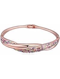 NEVI Czech Crystals Rose Gold Plated Kadaa Bracelet Jewellery for Women and Girls