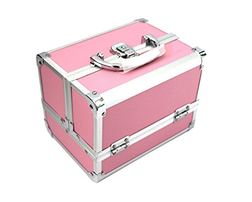 KScase Aluminium Schminkkoffer Make up Beauty Case Kosmetikkoffer mit Spiegel 205x155x155mm (Rosa)