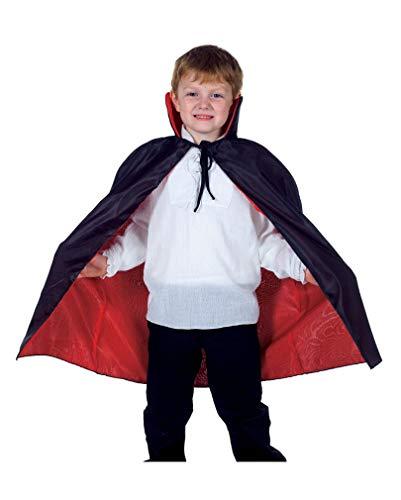 Taft Kostüm Cape - Horror-Shop Schwarz-rotes Cape für Kinder