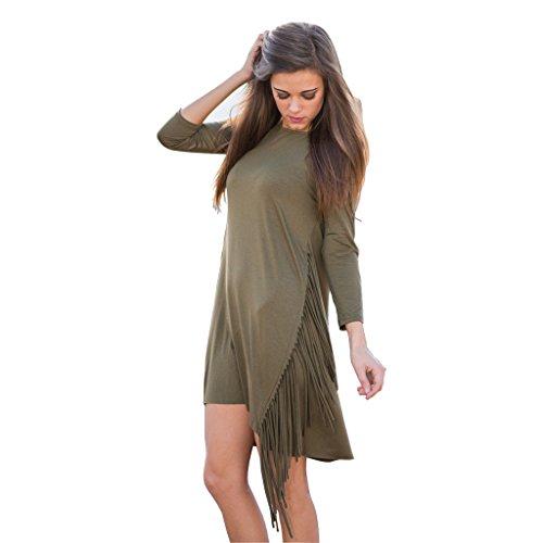 Loveours Damen 3/4-Ärmel Asymmetrische Quaste Mini Kleid Armee Grün