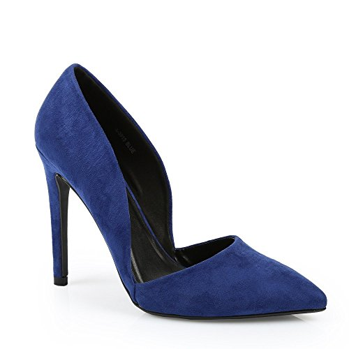 Ideal Shoes - Escarpins à bout pointu façon daim Kaley Bleu
