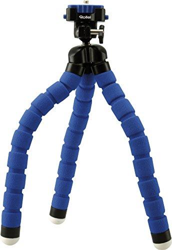 Rollei Monkey Pod - Biegsames Mini Stativ mit flexiblen Beinen, Max. Höhe 27 cm - inkl. Kugelkopf, rutschfesten Gummifüßen und Schnellwechselplatte - Blau