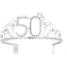 frcolor feliz cumpleaños 50TH plata cristal Tiara Corona de Cumpleaños